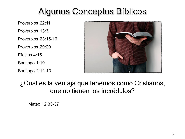 7 Proverbios 22:11 Proverbios 13:3 Proverbios 23:15-16 Proverbios 29:20 Efesios 4:15 Santiago 1:19 Santiago 2:12-13 Algunos Conceptos Bíblicos ¿Cuál e