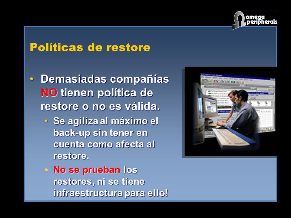 Políticas de restore Demasiadas compañías NO tienen política de restore o no es válida.Demasiadas compañías NO tienen política de restore o no es váli
