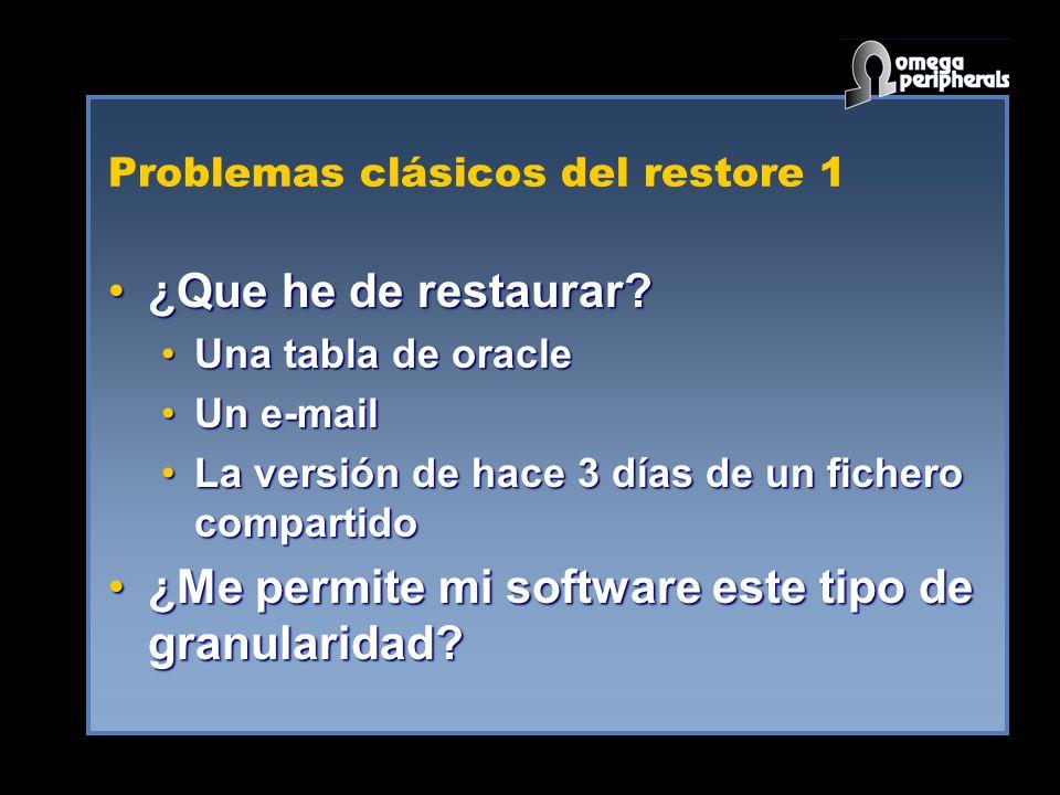 Problemas clásicos del restore 1 ¿Que he de restaurar?¿Que he de restaurar? Una tabla de oracleUna tabla de oracle Un e-mailUn e-mail La versión de ha