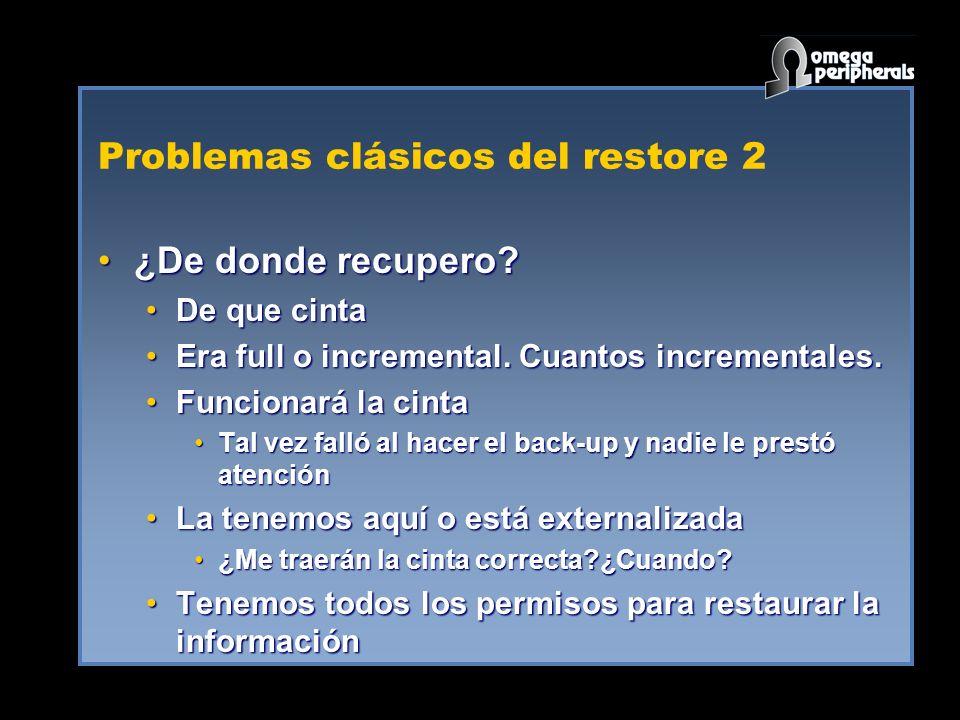 Problemas clásicos del restore 2 ¿De donde recupero?¿De donde recupero? De que cintaDe que cinta Era full o incremental. Cuantos incrementales.Era ful