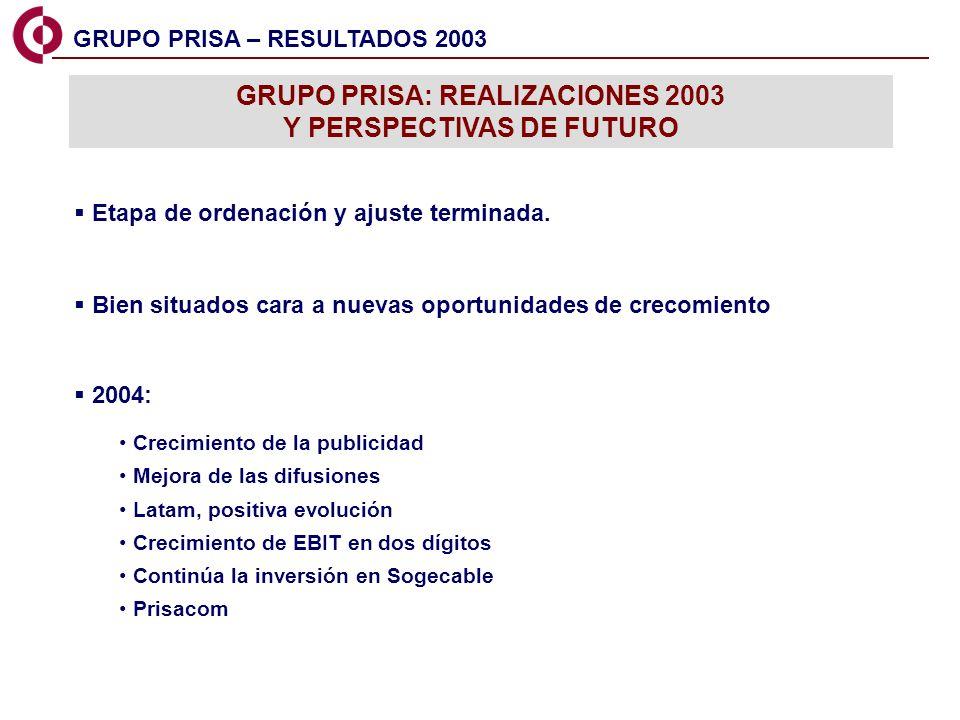 15 GRUPO PRISA – RESULTADOS 2003 GRUPO PRISA: REALIZACIONES 2003 Y PERSPECTIVAS DE FUTURO Etapa de ordenación y ajuste terminada. Bien situados cara a