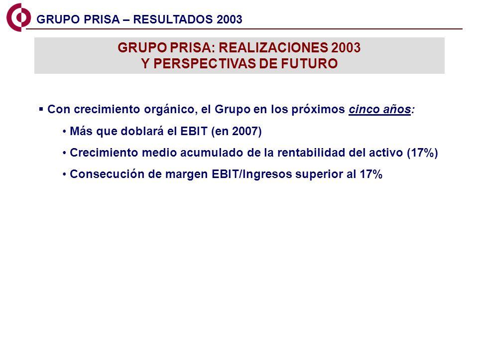16 GRUPO PRISA – RESULTADOS 2003 GRUPO PRISA: REALIZACIONES 2003 Y PERSPECTIVAS DE FUTURO Con crecimiento orgánico, el Grupo en los próximos cinco año