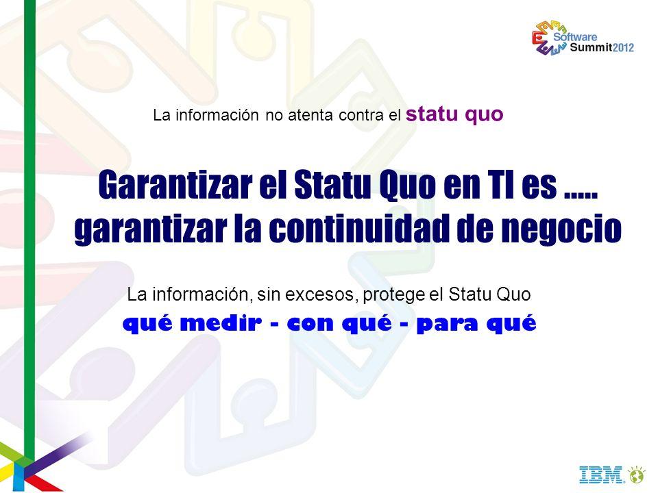 Garantizar el Statu Quo en TI es..... garantizar la continuidad de negocio La información, sin excesos, protege el Statu Quo qué medir - con qué - par