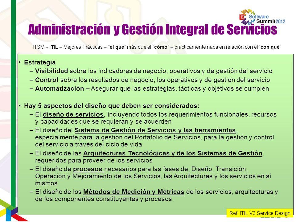 Administración y Gestión Integral de Servicios Estrategia –Visibilidad sobre los indicadores de negocio, operativos y de gestión del servicio –Control
