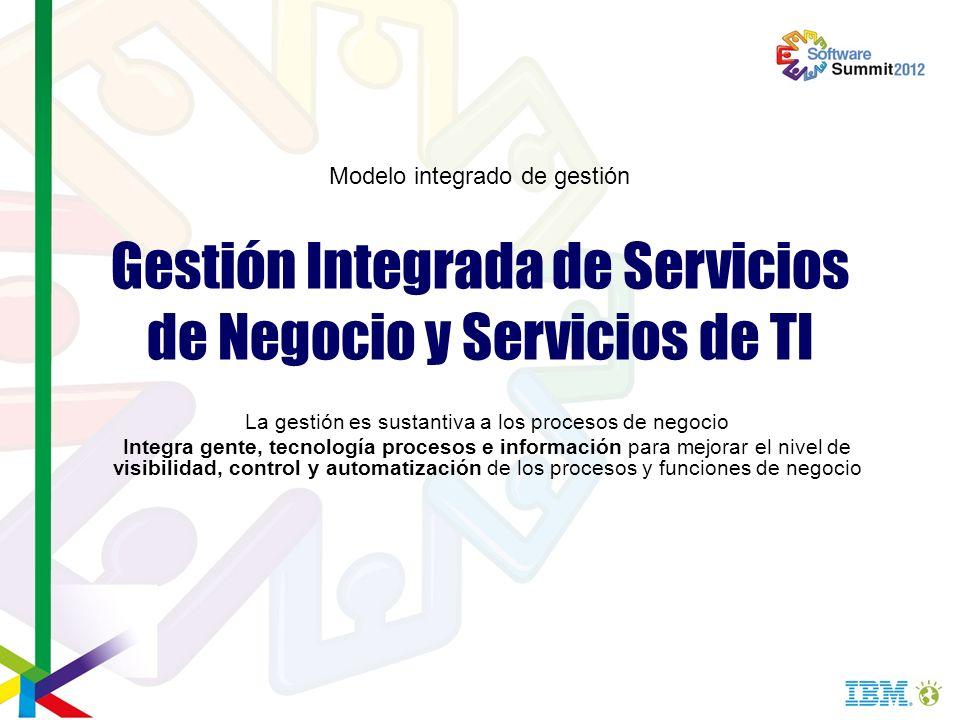 Gestión Integrada de Servicios de Negocio y Servicios de TI La gestión es sustantiva a los procesos de negocio Integra gente, tecnología procesos e in