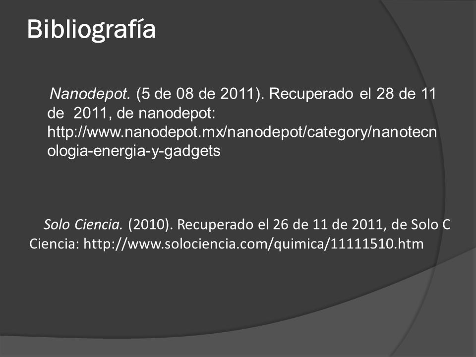 Bibliografía Nanodepot. (5 de 08 de 2011).