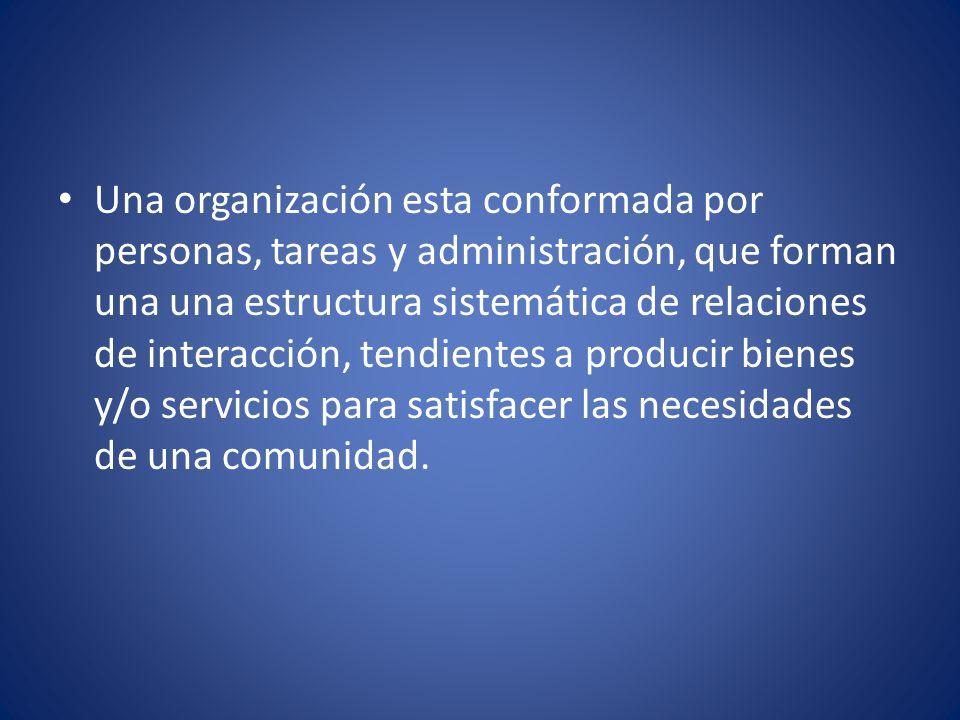 Una organización esta conformada por personas, tareas y administración, que forman una una estructura sistemática de relaciones de interacción, tendie