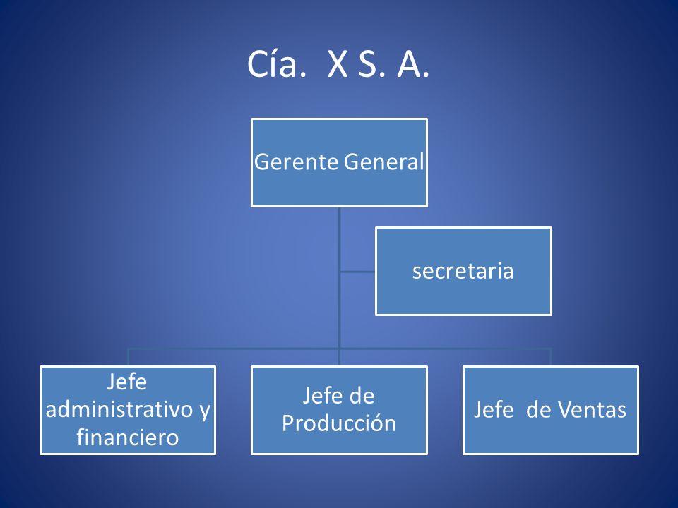 Cía. X S. A. Gerente General Jefe administrativo y financiero Jefe de Producción Jefe de Ventas secretaria