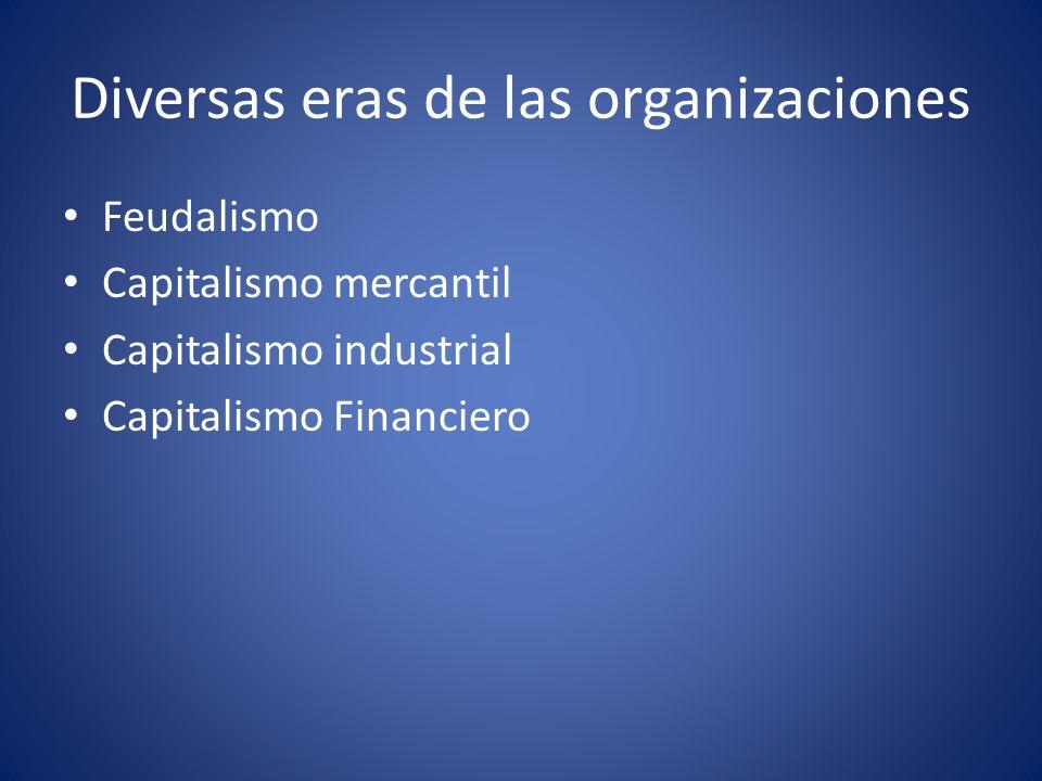 Diversas eras de las organizaciones Feudalismo Capitalismo mercantil Capitalismo industrial Capitalismo Financiero