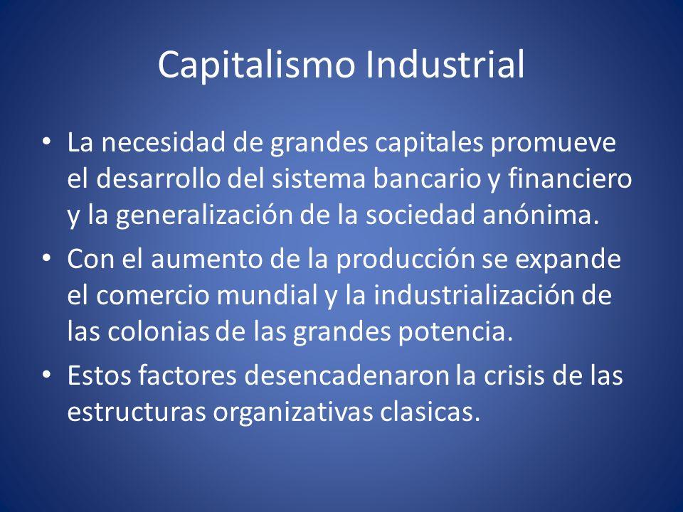 Capitalismo Industrial La necesidad de grandes capitales promueve el desarrollo del sistema bancario y financiero y la generalización de la sociedad a