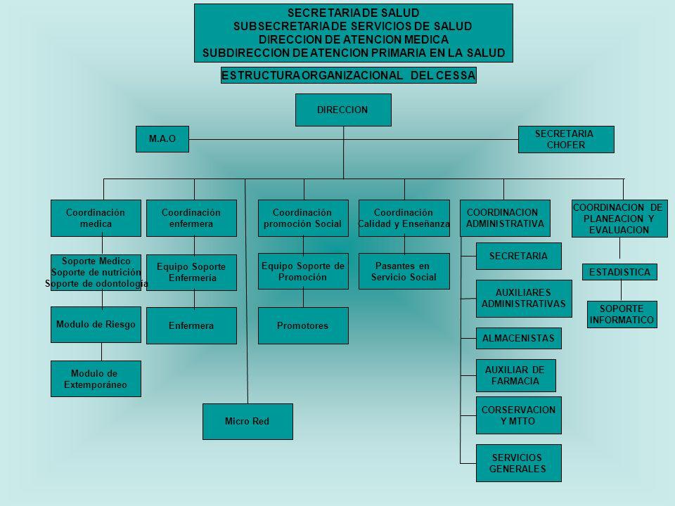SECRETARIA DE SALUD SUBSECRETARIA DE SERVICIOS DE SALUD DIRECCION DE ATENCION MEDICA SUBDIRECCION DE ATENCION PRIMARIA EN LA SALUD ESTRUCTURA ORGANIZACIONAL DEL CESSA DIRECCION M.A.O SECRETARIA CHOFER Coordinación medica Soporte Medico Soporte de nutrición Soporte de odontología Modulo de Riesgo Modulo de Extemporáneo Coordinación enfermera Equipo Soporte Enfermería Enfermera Coordinación promoción Social Equipo Soporte de Promoción Promotores COORDINACION DE PLANEACION Y EVALUACION ESTADISTICA SOPORTE INFORMATICO Coordinación Calidad y Enseñanza Pasantes en Servicio Social COORDINACION ADMINISTRATIVA SECRETARIA AUXILIARES ADMINISTRATIVAS ALMACENISTAS AUXILIAR DE FARMACIA CONSERVACION Y MTTO SERVICIOS GENERALES