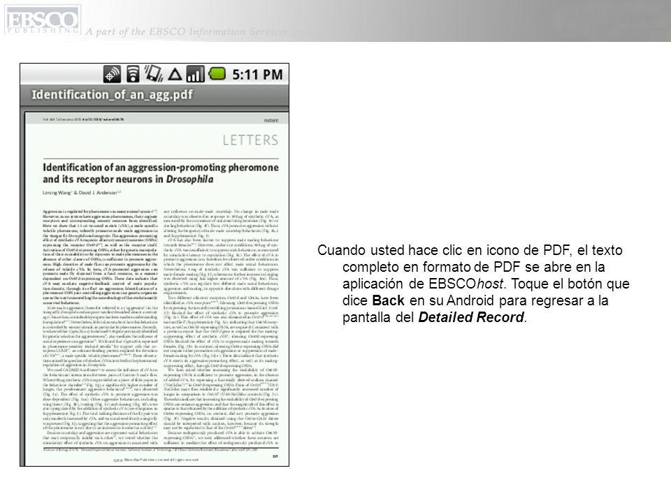Cuando usted hace clic en icono de PDF, el texto completo en formato de PDF se abre en la aplicación de EBSCOhost.