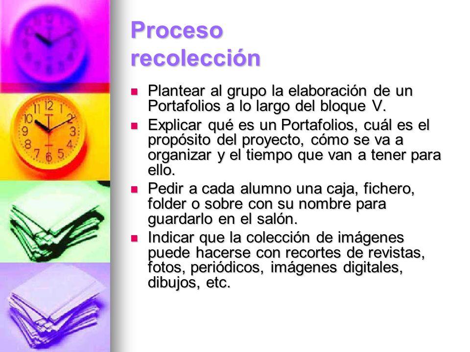 Proceso recolección Plantear al grupo la elaboración de un Portafolios a lo largo del bloque V. Plantear al grupo la elaboración de un Portafolios a l