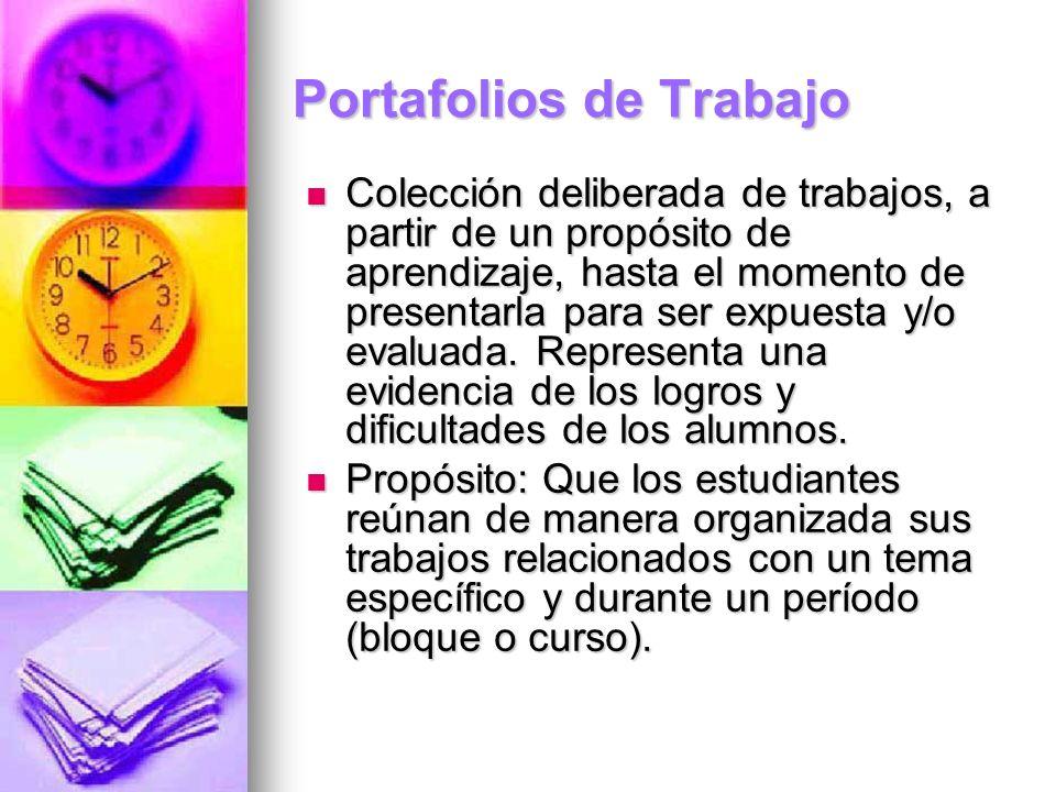 Portafolios de Trabajo Colección deliberada de trabajos, a partir de un propósito de aprendizaje, hasta el momento de presentarla para ser expuesta y/