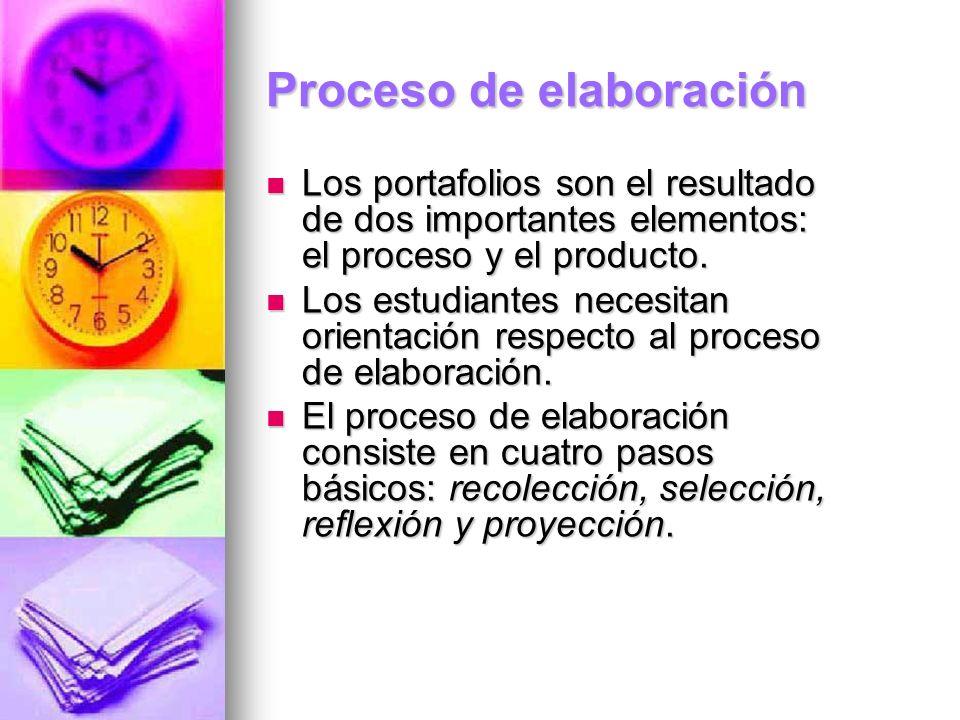 Proceso de elaboración Los portafolios son el resultado de dos importantes elementos: el proceso y el producto. Los portafolios son el resultado de do