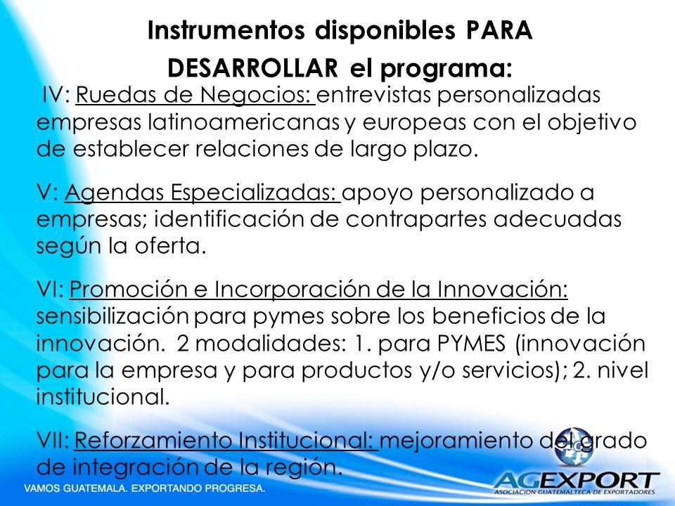 Instrumentos disponibles PARA DESARROLLAR el programa: IV: Ruedas de Negocios: entrevistas personalizadas empresas latinoamericanas y europeas con el