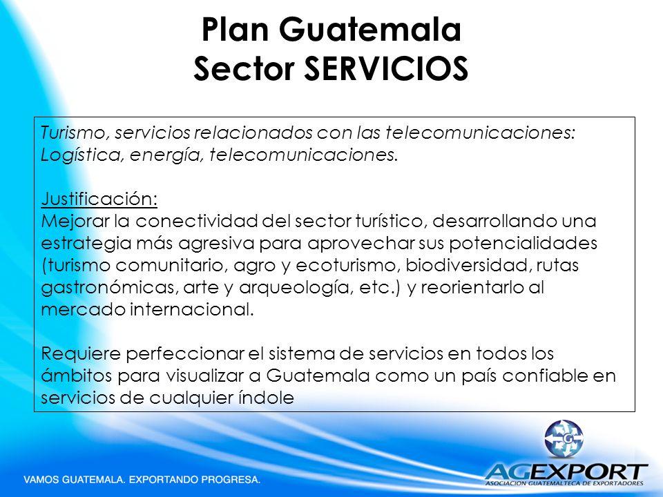 Plan Guatemala Sector SERVICIOS Turismo, servicios relacionados con las telecomunicaciones: Logística, energía, telecomunicaciones. Justificación: Mej