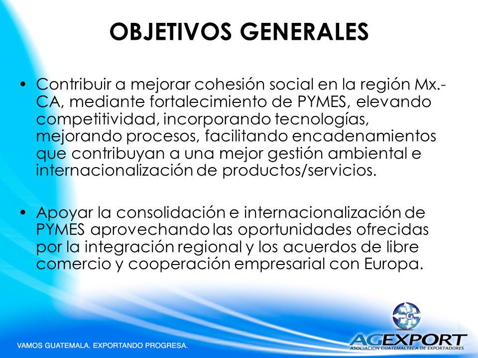 OBJETIVOS GENERALES Contribuir a mejorar cohesión social en la región Mx.- CA, mediante fortalecimiento de PYMES, elevando competitividad, incorporand