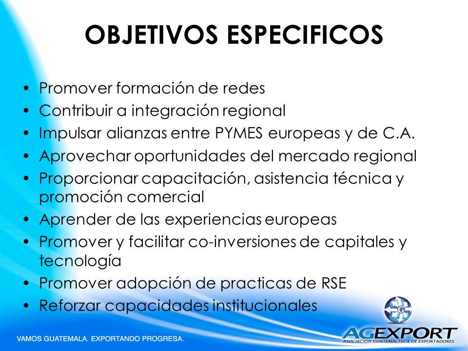 OBJETIVOS ESPECIFICOS Promover formación de redes Contribuir a integración regional Impulsar alianzas entre PYMES europeas y de C.A. Aprovechar oportu