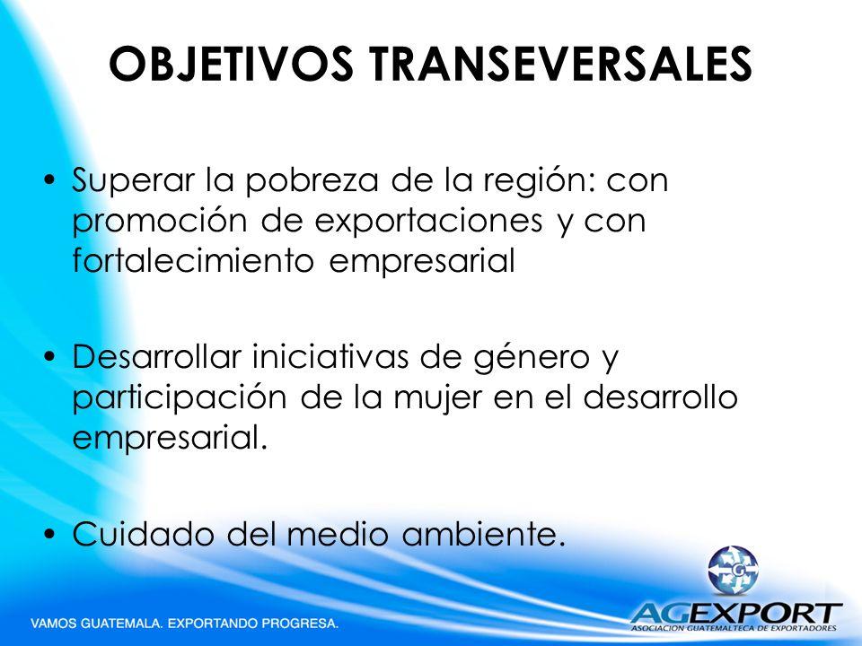 OBJETIVOS TRANSEVERSALES Superar la pobreza de la región: con promoción de exportaciones y con fortalecimiento empresarial Desarrollar iniciativas de