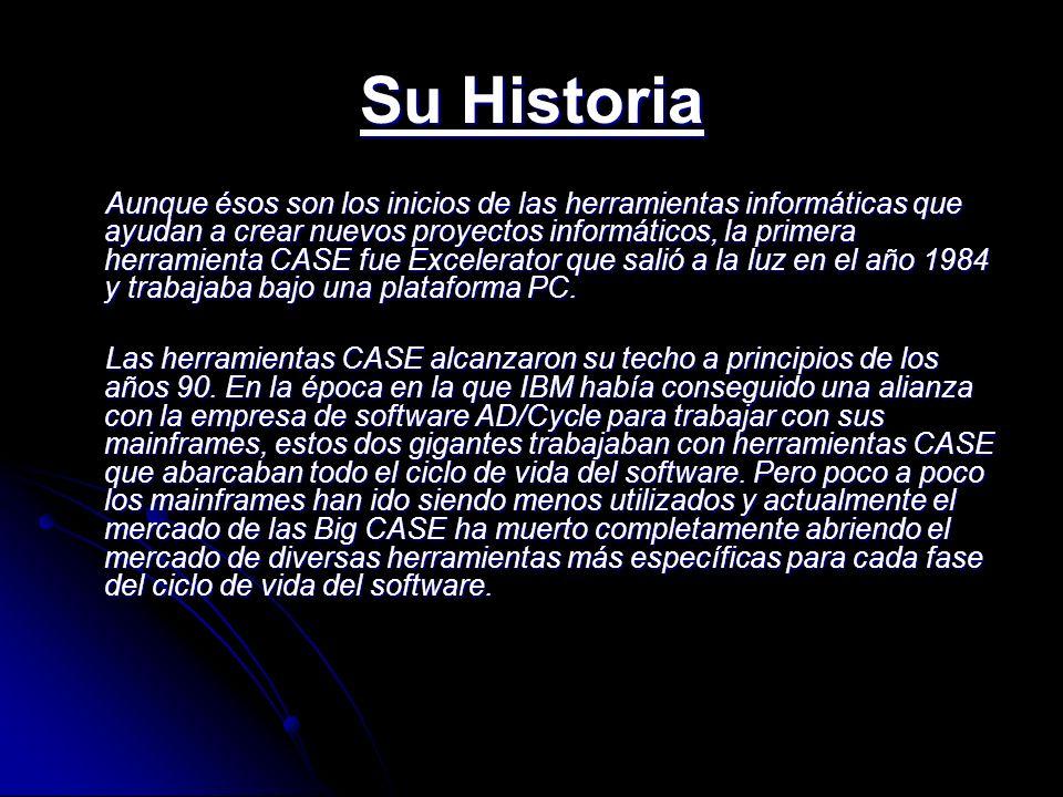 Su Historia Aunque ésos son los inicios de las herramientas informáticas que ayudan a crear nuevos proyectos informáticos, la primera herramienta CASE