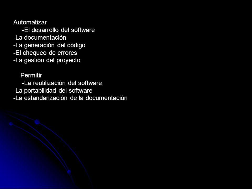 Automatizar -El desarrollo del software -La documentación -La generación del código -El chequeo de errores -La gestión del proyecto Permitir -La reuti