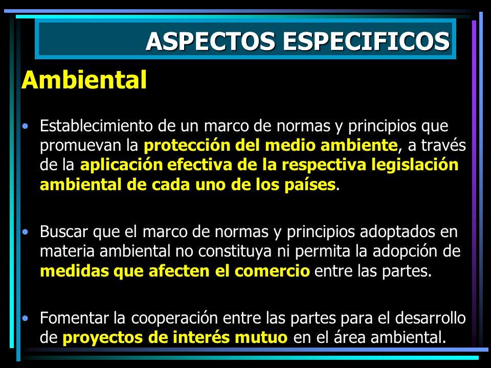 ASPECTOS ESPECIFICOS Laboral Establecimiento de un marco de normas y principios que promuevan la protección y cumplimiento de los derechos de los trab