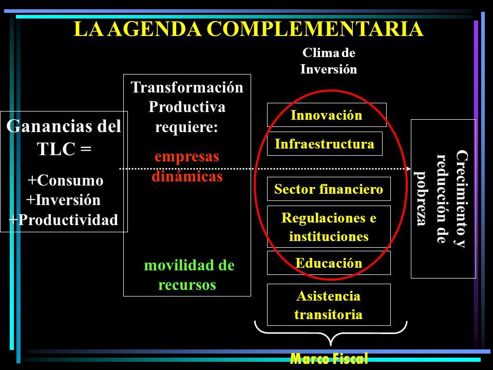 PROGRAMA PROACTIVO El comercio por si solo no resuelve todos los impedimentos para la transformación productiva (por ej. corrupción, innovación) El ef