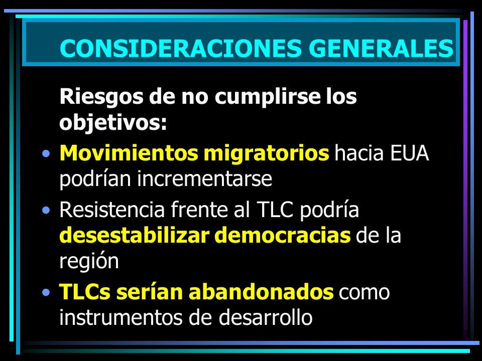 Riesgos de no cumplirse los objetivos: Movimientos migratorios hacia EUA podrían incrementarse Resistencia frente al TLC podría desestabilizar democracias de la región TLCs serían abandonados como instrumentos de desarrollo CONSIDERACIONES GENERALES