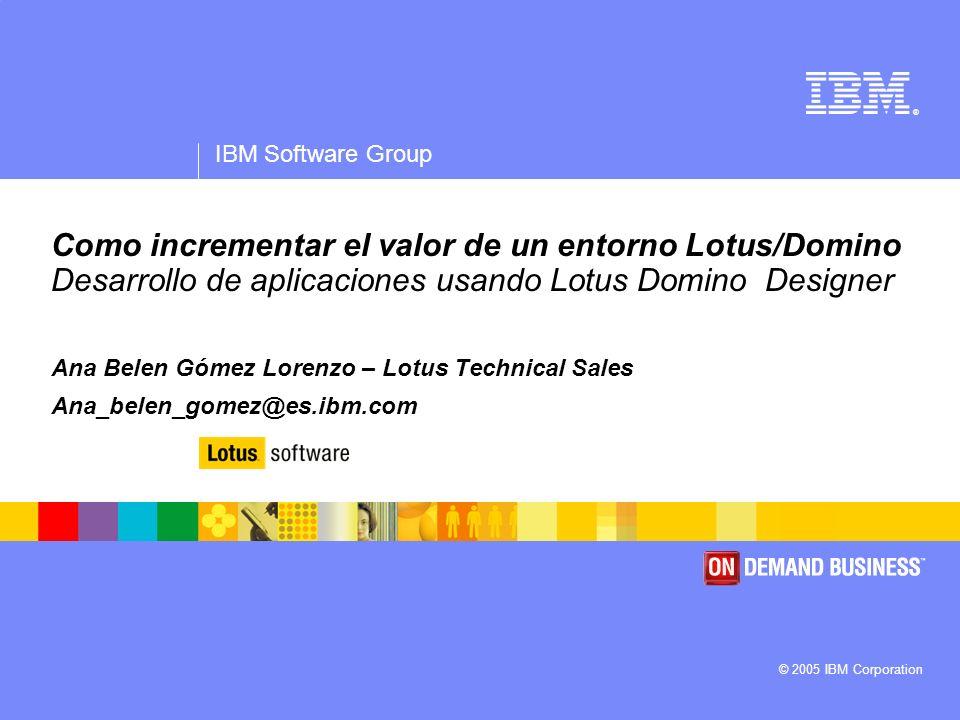 IBM Software Group | Lotus Software © 2005 IBM Corporation 12 Query View Vista Notes basada en SQL query Query Views son dinámicas Query se ejecuta en respuesta a una vista abierta o reconstruida Las Query Views se recalculan y no son persistentes Las Queries pueden ser parametrizadas y personalizadas Las Queries pueden unir datos para su visualización.