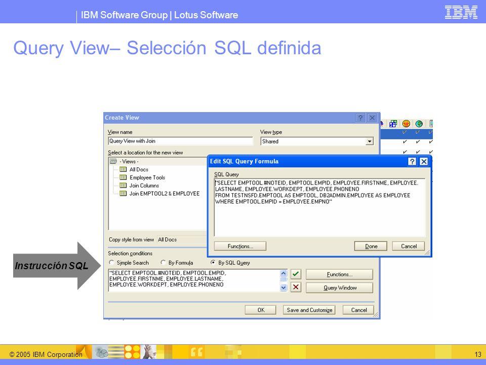 IBM Software Group | Lotus Software © 2005 IBM Corporation 13 Query View– Selección SQL definida Instrucción SQL