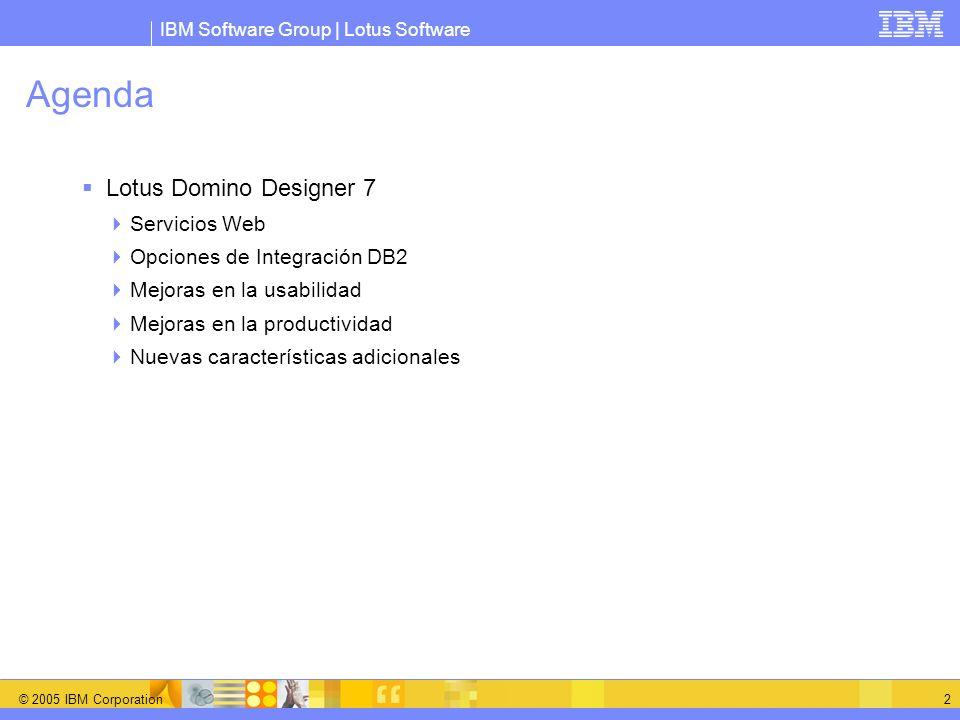 IBM Software Group | Lotus Software © 2005 IBM Corporation 3 Servicios Web Los servicios Web amplian el alcance de las aplicaciones Domino al proporcionar un interfaz basado en estándares para aplicaciones externas Domino 7 WebSphere WebSphere Portal Workplace Collaboration Services.NET