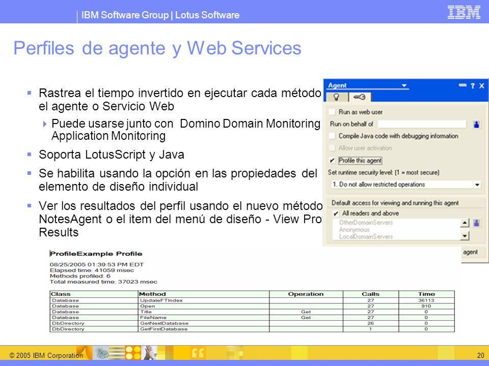 IBM Software Group | Lotus Software © 2005 IBM Corporation 20 Perfiles de agente y Web Services Rastrea el tiempo invertido en ejecutar cada método en