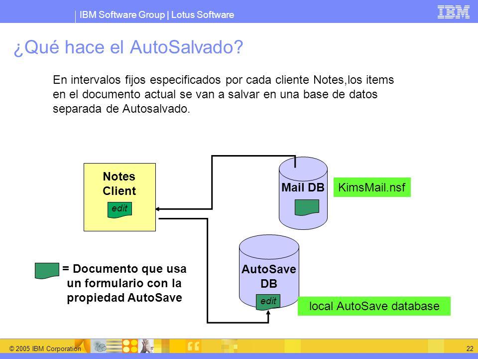 IBM Software Group | Lotus Software © 2005 IBM Corporation 22 ¿Qué hace el AutoSalvado? En intervalos fijos especificados por cada cliente Notes,los i