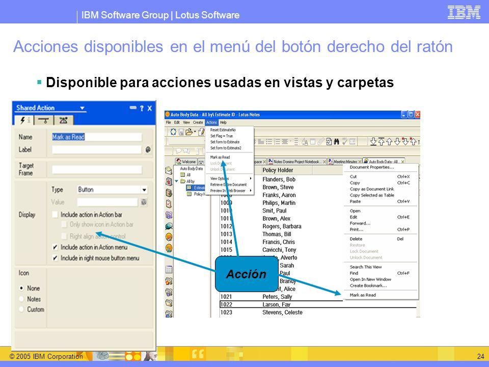 IBM Software Group | Lotus Software © 2005 IBM Corporation 24 Acción Acciones disponibles en el menú del botón derecho del ratón Disponible para accio