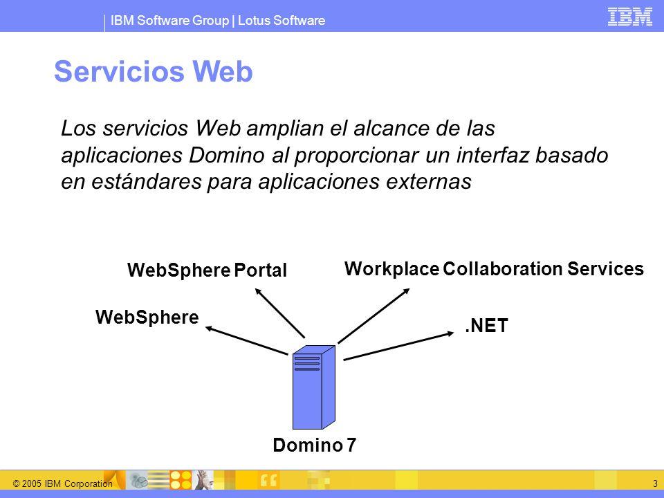 IBM Software Group | Lotus Software © 2005 IBM Corporation 4 Web Service Hosting en Domino/Designer 7 Designer proporciona soporte para el desarrollo Nuevo elemento de diseño NSF: Servicio Web Extiende el comportamiento del agente Web LotusScript o Java Importación y exportación WSDL La tarea HTTP de Domino proporciona el entorno de ejecución ?OpenWebService ?WSDL El motor de Web Service está basado en Apache AXIS 1.1+ Proporciona soporte SOAP y WSDL
