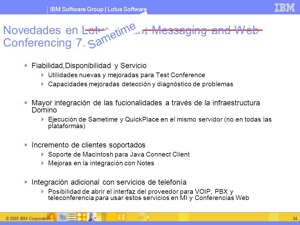 IBM Software Group | Lotus Software © 2005 IBM Corporation 34 Novedades en Lotus Instant Messaging and Web Conferencing 7.0 Fiabilidad,Disponibilidad