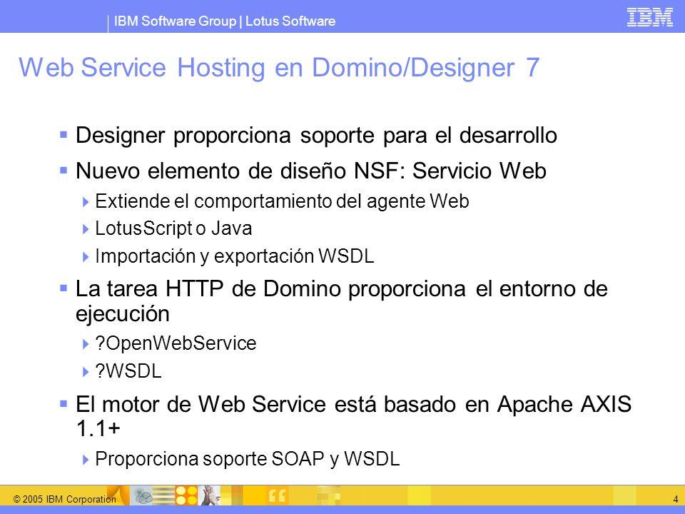 IBM Software Group | Lotus Software © 2005 IBM Corporation 4 Web Service Hosting en Domino/Designer 7 Designer proporciona soporte para el desarrollo