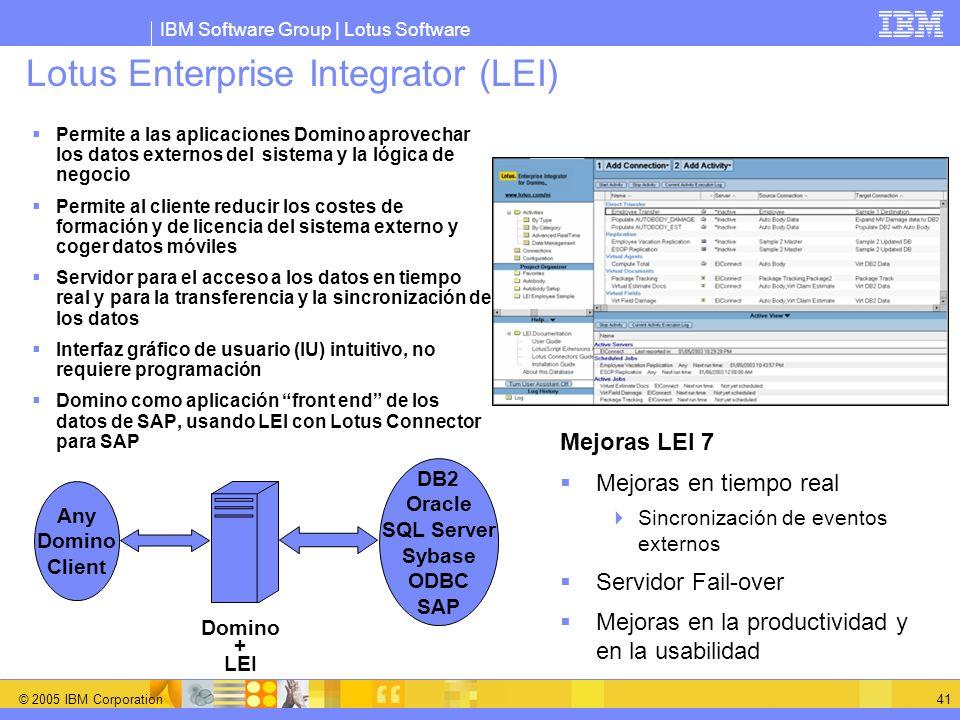 IBM Software Group | Lotus Software © 2005 IBM Corporation 41 Lotus Enterprise Integrator (LEI) Permite a las aplicaciones Domino aprovechar los datos
