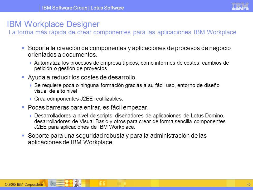 IBM Software Group | Lotus Software © 2005 IBM Corporation 45 IBM Workplace Designer La forma más rápida de crear componentes para las aplicaciones IB