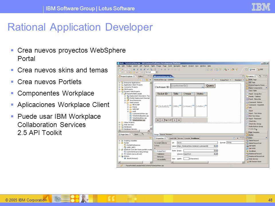 IBM Software Group | Lotus Software © 2005 IBM Corporation 48 Rational Application Developer Crea nuevos proyectos WebSphere Portal Crea nuevos skins
