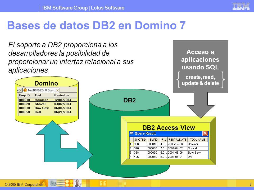 IBM Software Group | Lotus Software © 2005 IBM Corporation 8 Bases de datos DB2 en Domino 7 (cont.) Ventajas para clientes Domino Los datos de Domino pueden ser explotados con herramientas de informes más potentes Integración, es más fácil integrar los datos Domino con: Aplicaciones de negocio (WebSphere MQ, IMS y CICS) Es posible construir aplicaciones J2EE con datos Domino El indexado lo gestiona DB2ñ Ventajas para clientes DB2 El desarrollo de aplicaciones de colaboración es más sencillo usando Domino Designer