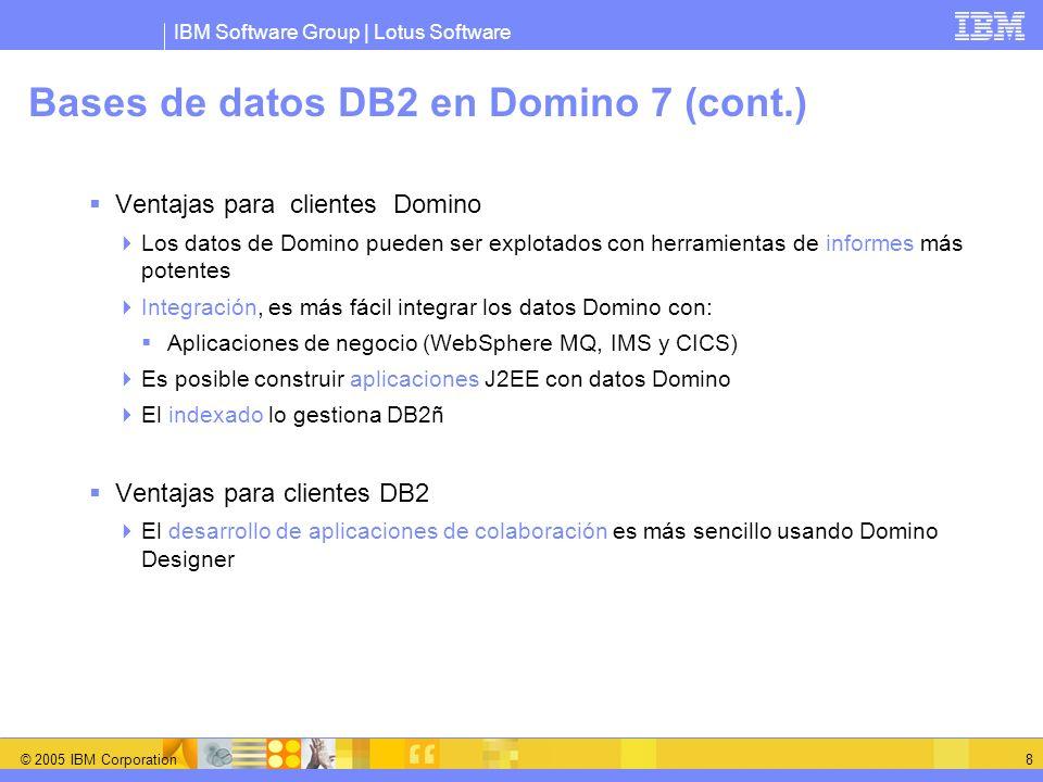 IBM Software Group | Lotus Software © 2005 IBM Corporation 9 Soporte a DB2 DB2 Access View (DAV) Expone los datos Notes a las aplicaciones DB2 Organiza los campos en vistas DB2 Query views Permite generar vistas que ataquen datos DB2 La instrucción SQL describe la selección Se calcula dinámicamente Poder de búsqueda con SQL (joins, etc)