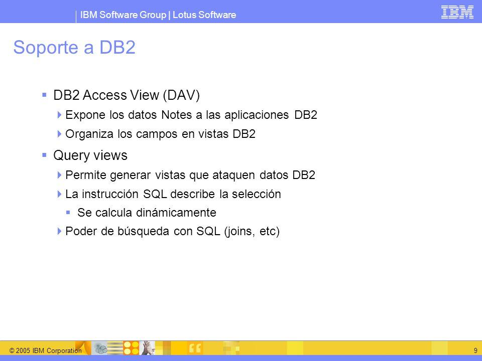 IBM Software Group | Lotus Software © 2005 IBM Corporation 10 DB2 Access View Usar SQL para trabajar con los datos de Domino Mejora capacidad de generar informes de datos Domino Lectura de datos Notes, con semánticas de seguridad Domino (ACL s, reader lists) Herramientas de terceros para la generación de informes pueden trabajar a través de ODBC/JDBC Los datos Domino se pueden modificar a través de DB2 Insert, Update, y Delete con semántica Domino Soporte de conflictos replica/salvado, bloqueo de documentos
