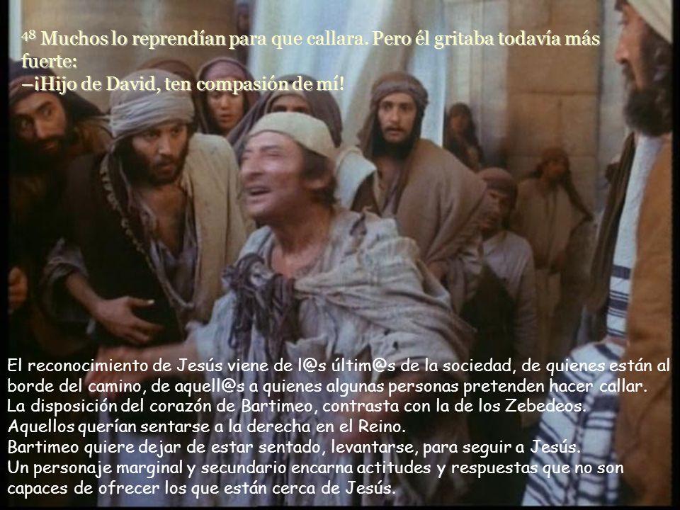 47 Cuando se enteró de que era Jesús el Nazareno quien pasaba, se puso a gritar: –¡Hijo de David, Jesús, ten compasión de mí! ¿Nos molestan los gritos