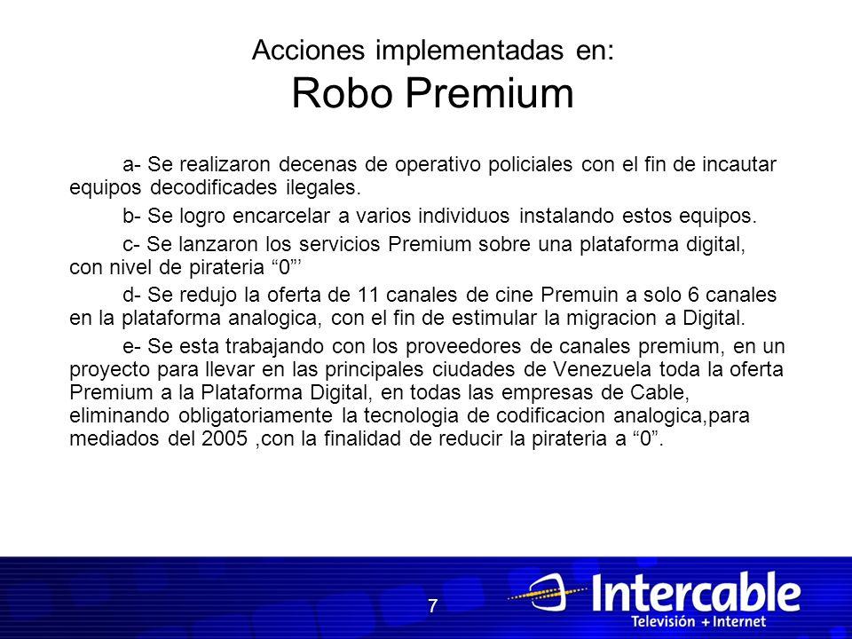 Acciones implementadas en: Robo Premium a- Se realizaron decenas de operativo policiales con el fin de incautar equipos decodificades ilegales. b- Se