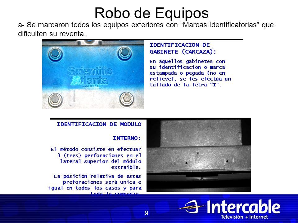 Robo de Equipos IDENTIFICACION DE MODULO INTERNO: El método consiste en efectuar 3 (tres) perforaciones en el lateral superior del módulo extraible. L