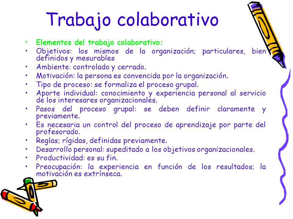 Trabajo colaborativo Elementos del trabajo colaborativo: Objetivos: los mismos de la organización; particulares, bien definidos y mesurables Ambiente:
