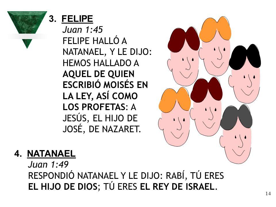 14 3. FELIPE Juan 1:45 FELIPE HALLÓ A NATANAEL, Y LE DIJO: HEMOS HALLADO A AQUEL DE QUIEN ESCRIBIÓ MOISÉS EN LA LEY, ASÍ COMO LOS PROFETAS: A JESÚS, E