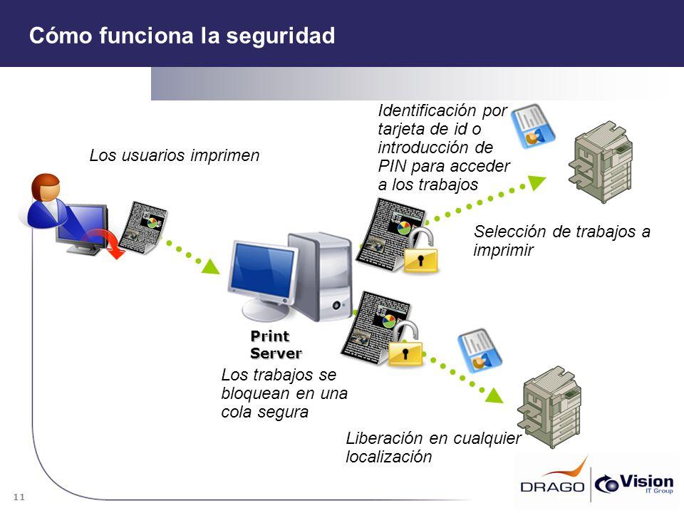 11 Print Server Identificación por tarjeta de id o introducción de PIN para acceder a los trabajos Liberación en cualquier localización Selección de t